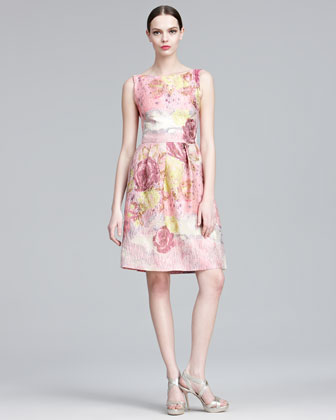 Lela Rose Floral-Jacquard Sheath Dress elegant designer dress made in the usa made in america lela rose dress
