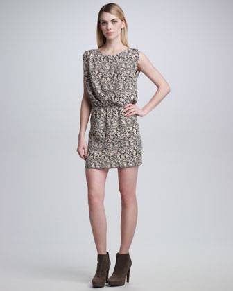 Mosaic Snake-Print Blouson Dress