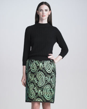 Metallic Paisley Jacquard Pencil Skirt