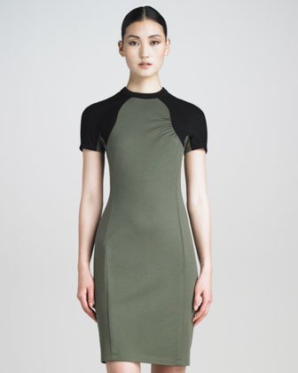 Contrast-Sleeve Tech Jersey Dress