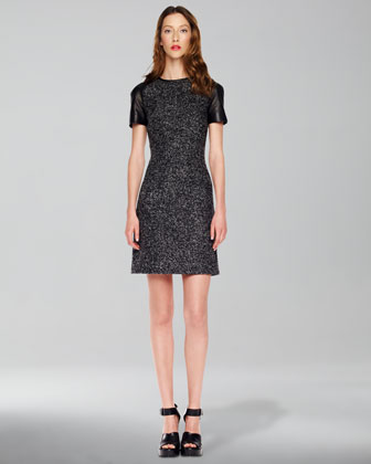 Leather-Sleeve Tweed Dress