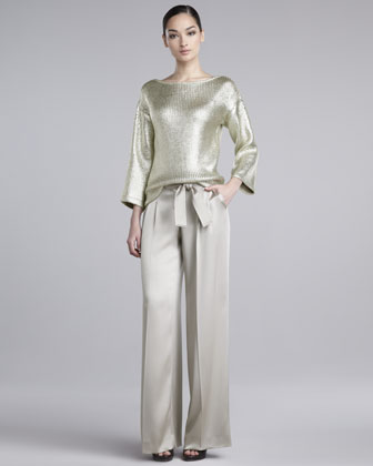 Cary Liquid Satin Wide-Leg Pants
