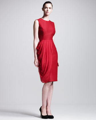 Chiffon-Drape Sleeveless Dress