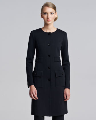 Milano Knit Jewel-Neck Jacket, Caviar