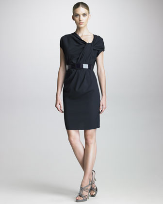 Knotted-Neckline Dress