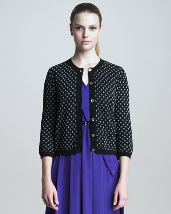 Metallic Polka-Dot Cardigan