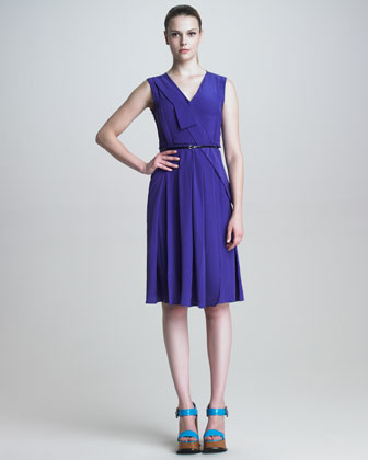 Pleated Crepe de Chine Dress