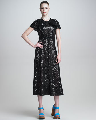 Short-Sleeve Sequined Dress