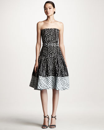 Polka Dot Jacquard Dress