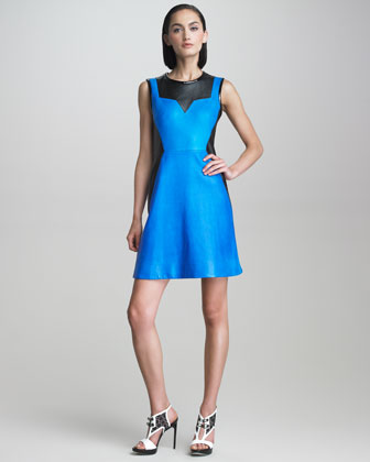 Sleeveless Leather Colorblock Dress