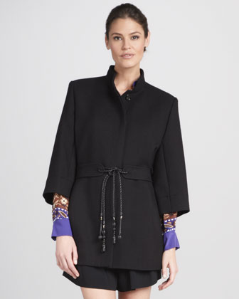 Three-Quarter-Sleeve Tie-Belt Coat