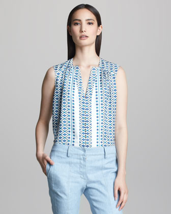 Sleeveless Printed Silk Blouse