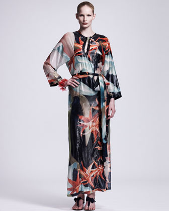 Tropical-Print Caftan Maxi Dress