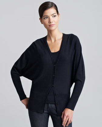 Long Dolman-Sleeve Cardigan