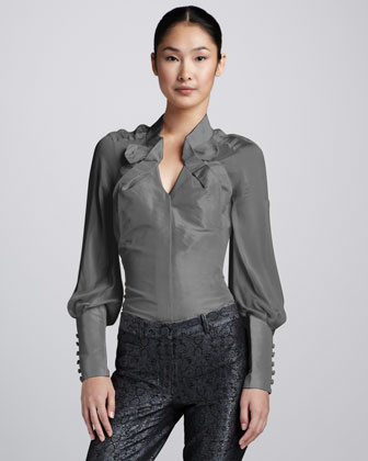 Folded-Collar Taffeta Blouse