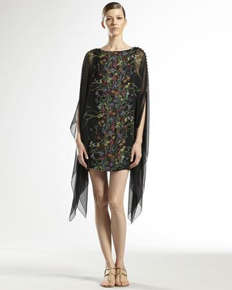 Flower Print Silk Georgette Caftan Dress