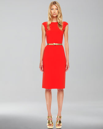 Boat-Neck Crepe Dress