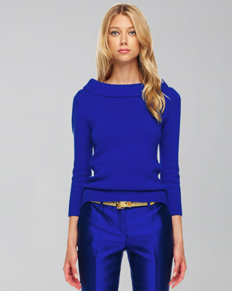 Cashmere Cuff-Neck Sweater