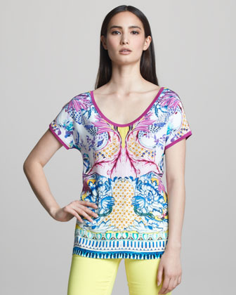 Printed Scoop-Neck Short-Sleeve Tee