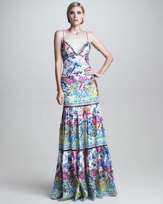 Tiered Printed Mermaid Gown