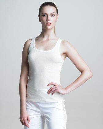 Scoop-Neck Tank, White