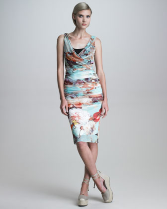 Ruched Romantic Floral-Print Dress