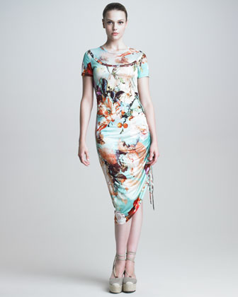 Short-Sleeve Floral-Print Dress