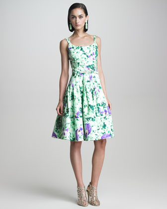 Floral-Print Flounce Dress