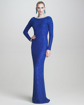 Sequined Scoop-Back Gown