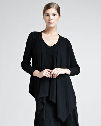 Draped Stretch-Knit Cozy, Black
