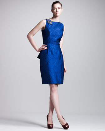Crocodile-Texture Peplum Dress
