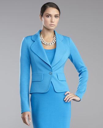 Milano Knit One-Button Jacket, Peacock Blue