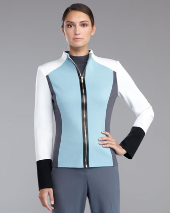 Milano Knit Colorblock Scuba Jacket