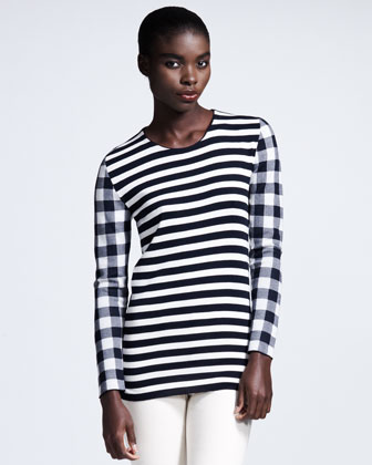 Long-Sleeve Mixed-Print Tee