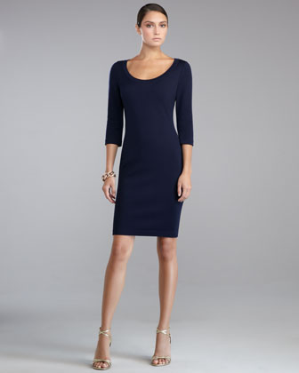 Milano Knit Scoop-Neck Dress, Navy