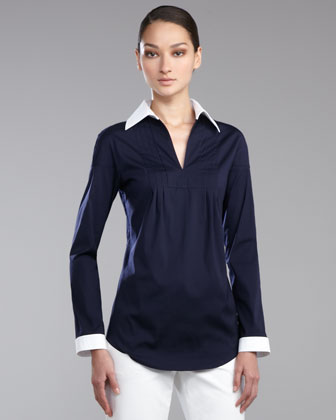 Stretch Poplin Tunic Blouse, Navy