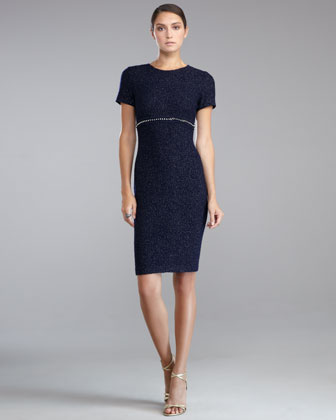 Shimmer Boucle Crewneck Dress, Navy