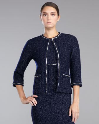 Shimmer Boucle Knit Jacket, Navy