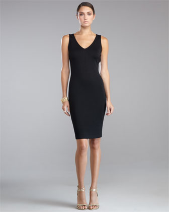 Shimmer Milano Knit Lace-Back Sheath Dress