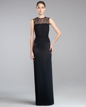 Lace Liquid Satin Gown, Caviar