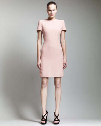 Short-Sleeve Crepe Dress, Blush