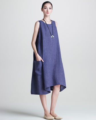 Side-Pleated Trapeze Dress