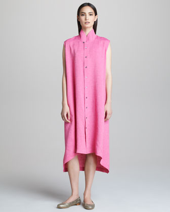 Sleeveless Dress with Mandarin Collar