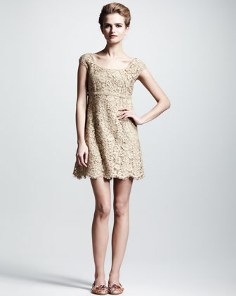 Lace Cap-Sleeve Dress
