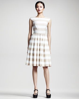 Full-Skirted Striped Dress