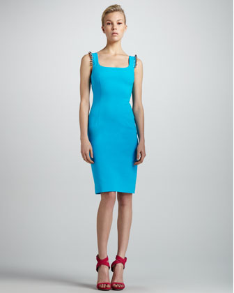 Beaded-Shoulder Sheath Dress, Turquoise
