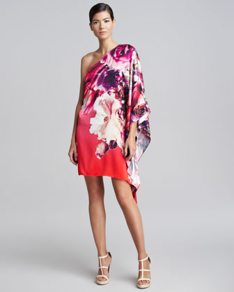 One-Shoulder Draped Floral Dress