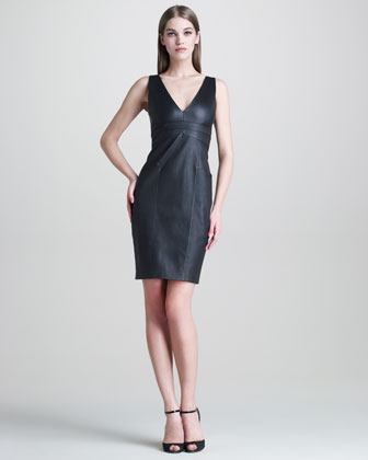 Stretch-Leather V-Neck Dress