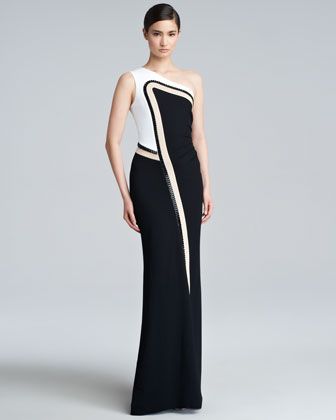 Goldi Beaded Jersey Gown, Black