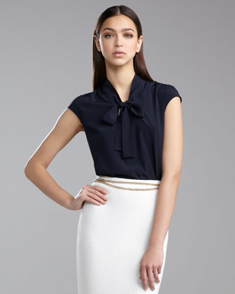 Cap-Sleeve Ascot Blouse, Navy